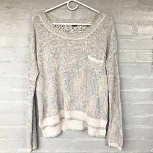 Free People crochet lace back sweater size L